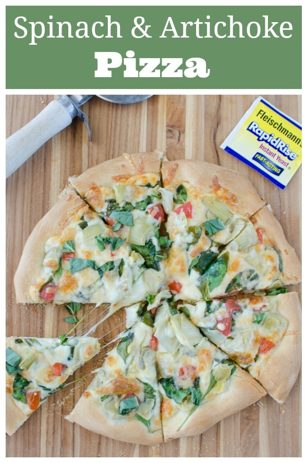 Spinach and Artichoke Pizza - the most delicious pizza topped with 2 cheeses, spinach, artichokes, and tomatoes. And easy 30 minute dinner recipe!