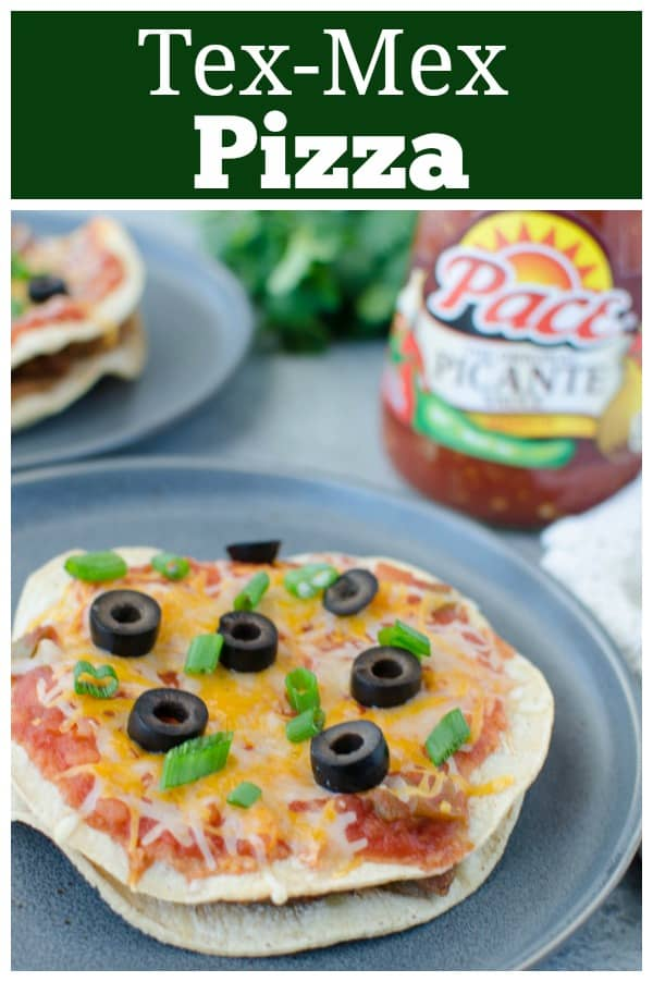 Tex-Mex Pizza - crispy tortillas topped with refried beans, taco seasoned ground beef, salsa, and cheese. Quick and easy weeknight dinner!