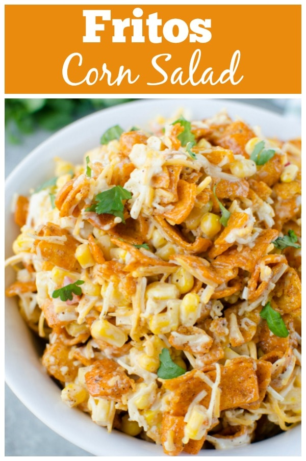 Fritos Corn Salad - crisp corn, bell pepper, cheese, and Chili Cheese Fritos in a creamy dressing. The perfect no cook, super easy summer side dish for all your barbecues!