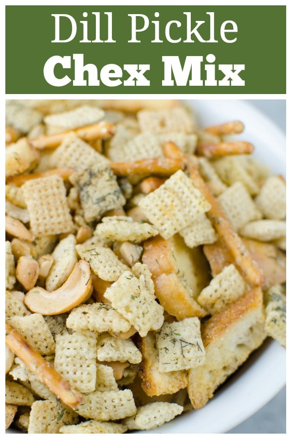 Dill Pickle Chex Mix - my alltime favorite Chex Mix! Chex cereal, bagel chips, pretzel sticks, and cashews coated in a buttery dill pickle and ranch seasoning and baked until crispy and delicious.