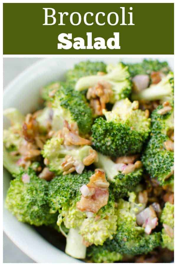 Broccoli Salad - my favorite summer side dish! Fresh broccoli, red onion, raisins, bacon, and sunflower seeds in a sweet and tangy dressing.