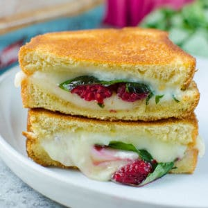 Raspberry, Basil, and Brie Grilled Cheese