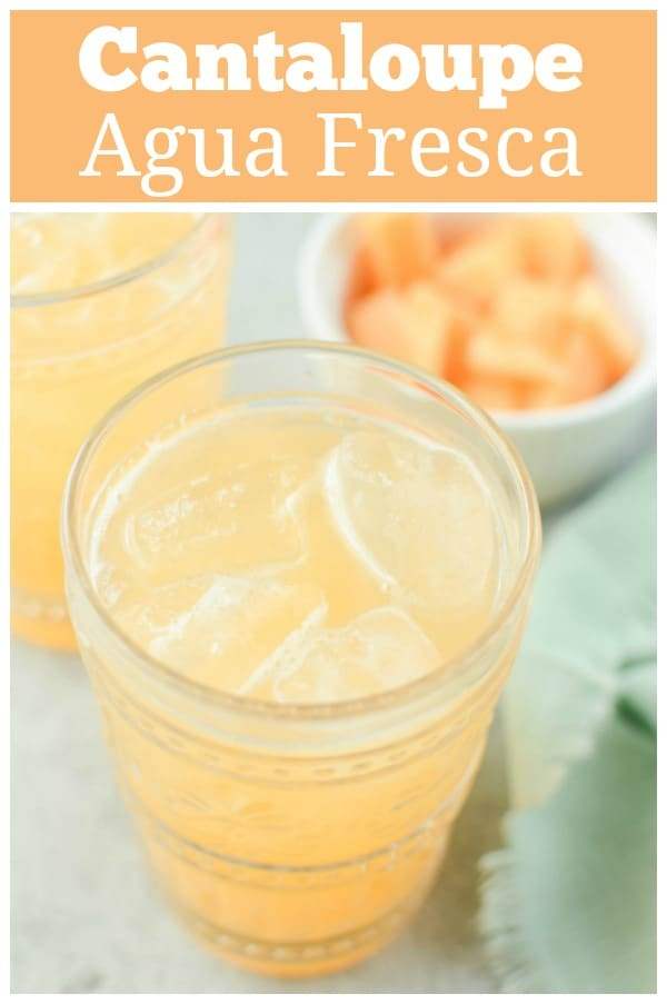 Cantaloupe Agua Fresca - fresh cantaloupe water made with just cantaloupe, water, lime juice, and a dash of sugar. The perfect refreshing summer drink!