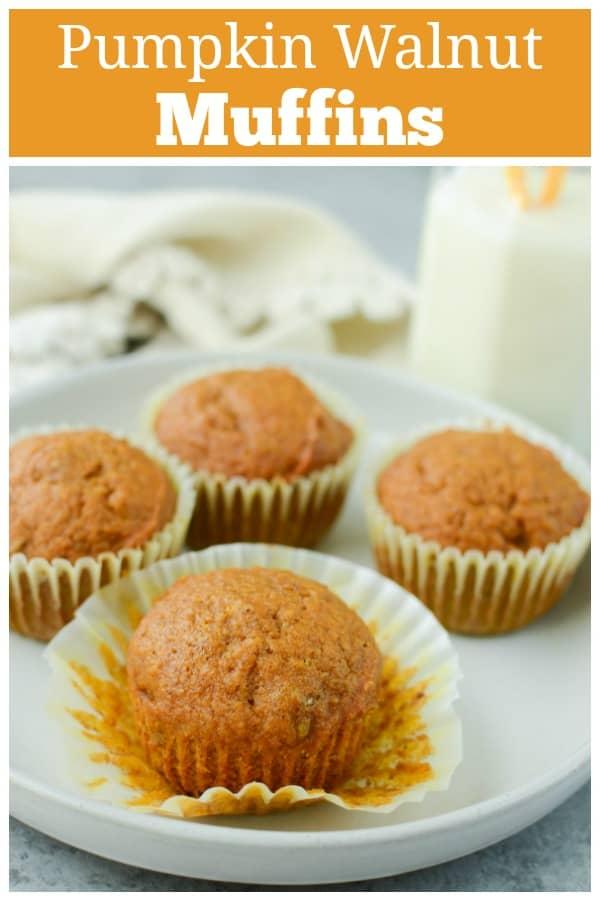 Pumpkin Walnut Muffins - moist pumpkin muffins with walnuts and a crunchy topping. The perfect fall breakfast!