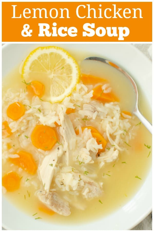 Lemon Chicken and Rice Soup - quick cooking chicken soup with rice, vegetables, and a light lemony broth. It's my favorite winter soup and great for when you're feeling a little under the weather!