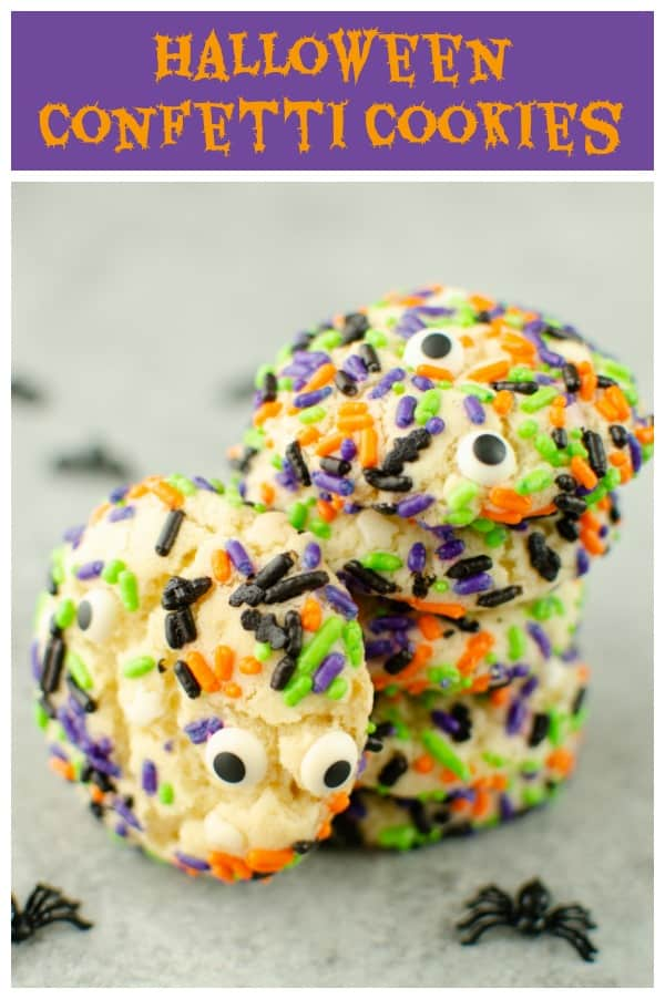 Halloween Confetti Cookies - soft and chewy sugar cookies rolled in Halloween sprinkles. The perfect sweet and spooky treat!