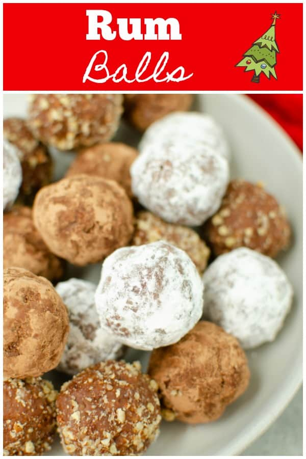 Rum Balls - a classic holiday treat! Crushed cookies, ground pecans, and spiced rum make a delicious no bake dessert. Really cute in cookie tins!
