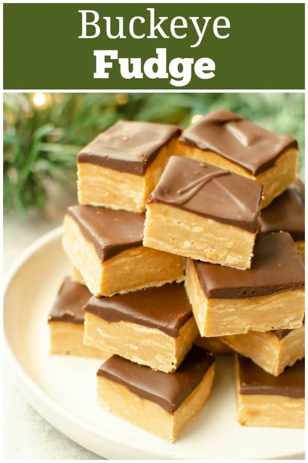 Buckeye Fudge - rich peanut butter fudge topped with a layer of chocolate ganache! It's like the buckeye candies in fudge form. Super easy recipe, made completely in the microwave!