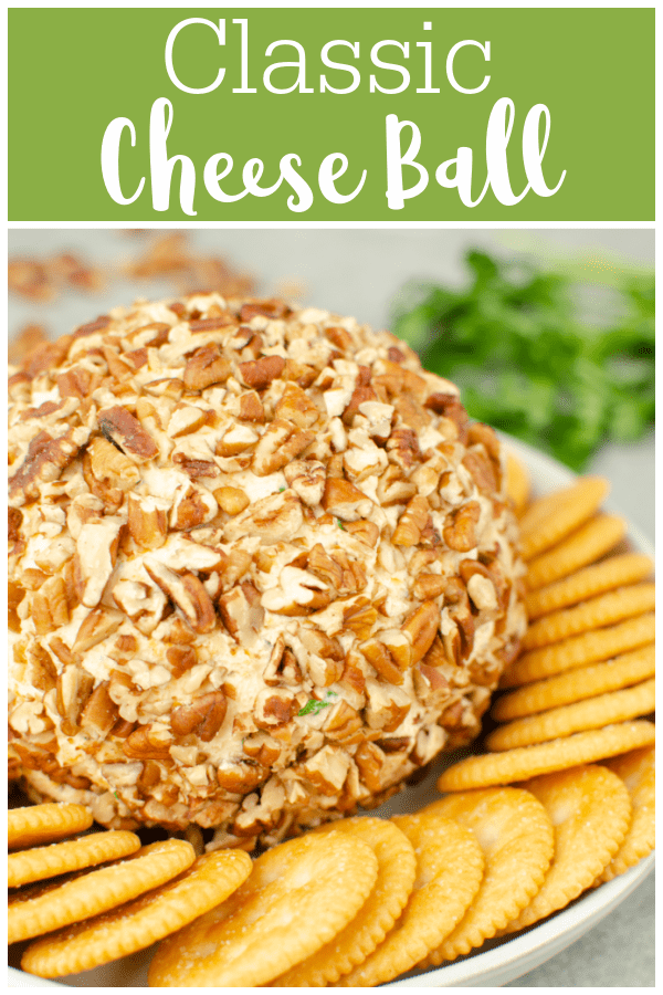 Classic Cheese Ball - easy cheese ball recipe made with cream cheese, cheddar cheese, green onions, parsley, and rolled in chopped pecans! Perfect appetizer for a party or holiday dinner.