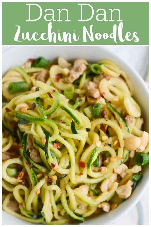 Dan Dan Zucchini Noodles - a healthy twist on the Sichuan classic noodle dish! Zucchini noodles, pork, and a delicious spicy sauce!