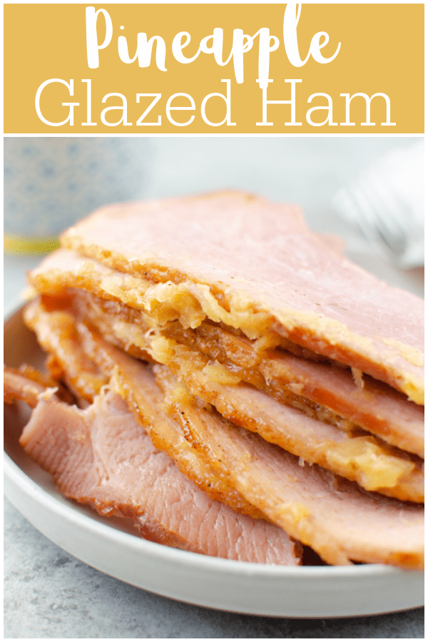 Pineapple Brown Sugar Glazed Ham - baked spiral ham coated in a pineapple and brown sugar glaze. Perfect for Easter, Christmas, or a regular Sunday dinner! The leftovers are great for soup or casseroles.