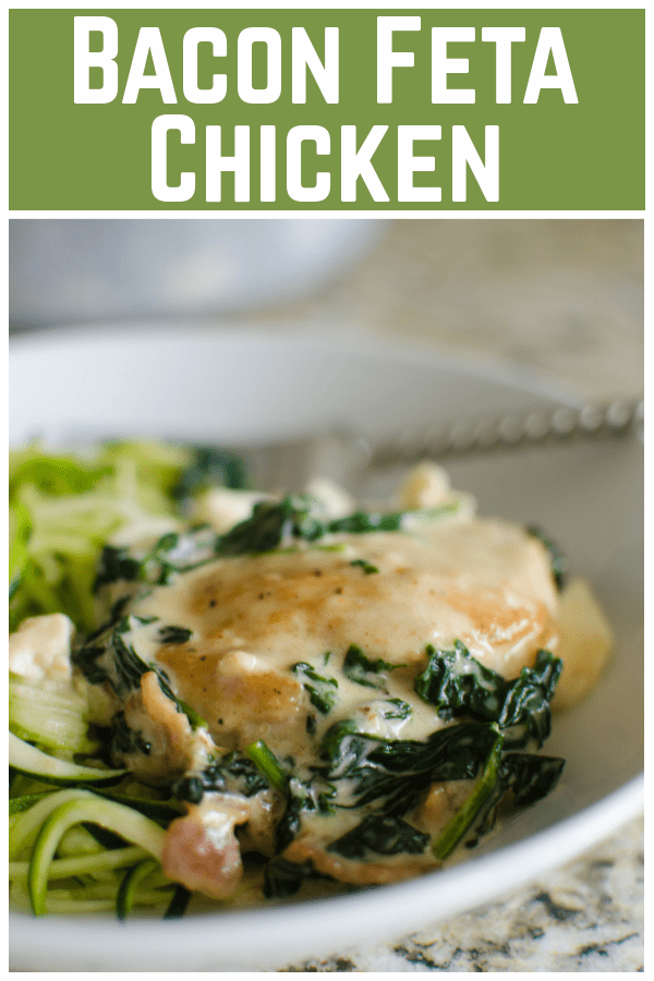 Bacon Spinach Feta Chicken - low carb and keto recipe! Crispy chicken thighs in a delicious feta sauce with bacon and spinach! 30 minute meal, perfect for weeknights!
