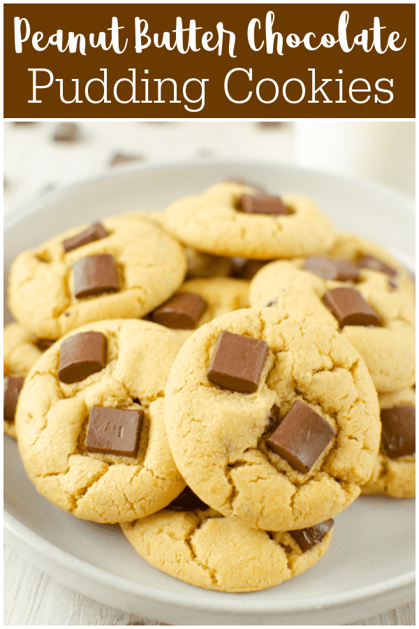 Peanut Butter Chocolate Chunk Pudding Cookies - soft peanut butter cookies with chocolate chunks! The pudding mix keeps them super soft.