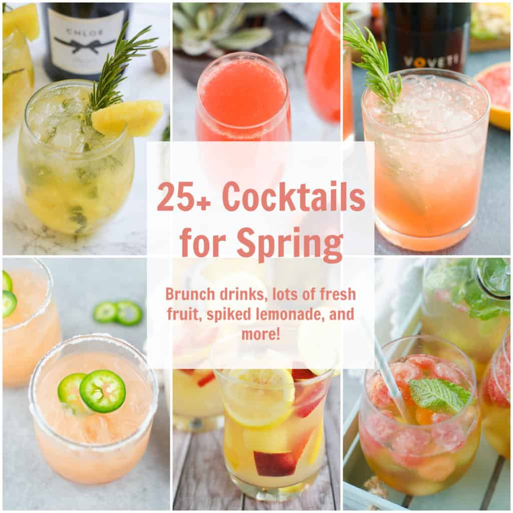 25+ Cocktails for Spring - a list of the best cocktails for spring! Lots of fresh fruit, bubbly drinks for brunch, margaritas for Cinco De Mayo, and so much more!
