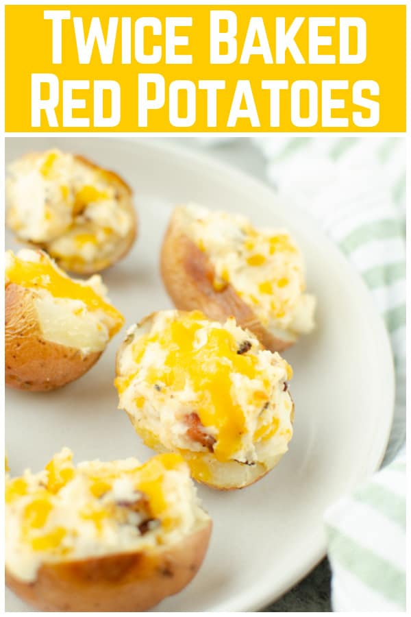 Twice Baked Red Potatoes - creamy, cheesy mashed potatoes with bacon stuffed into crispy red potato skins and baked until hot and delicious! The perfect side dish for any meal.