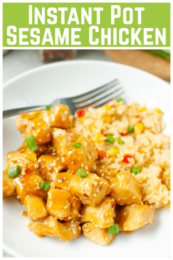 Instant Pot Sesame Chicken - your favorite takeout chicken made at home! Chicken cooked in a sweet and savory honey sauce - and it's ready in less than 30 minutes in the pressure cooker!