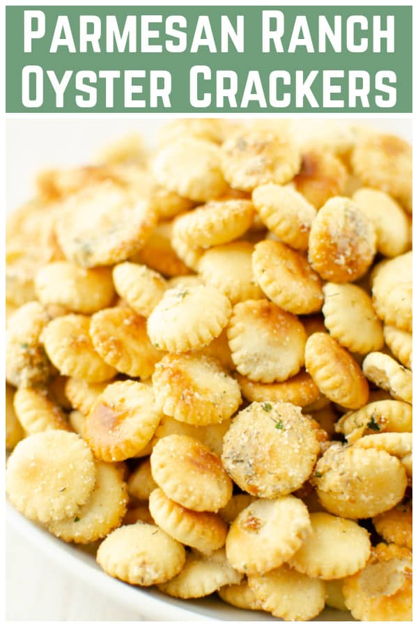 Parmesan Ranch Oyster Crackers - store-bought oyster crackers coated in a buttery ranch seasoning and Parmesan cheese, and then baked until they are toasted and delicious. They are going to be your new favorite snack!